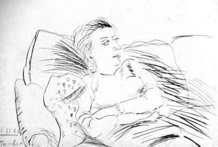 Acquaforte Tamburi - Donna sul divano