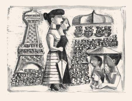Litografia Campigli - Donne alla Torre Eiffel