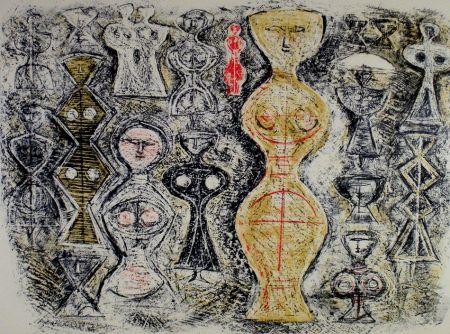 Litografia Campigli - Donne su fondo blu