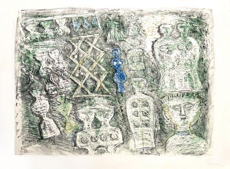Litografia Campigli - Donne su fondo verte