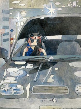 Litografia Takano - DRIVE WITH A NIGHT DOG