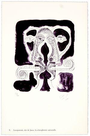 Litografia Nørgaard - E. Autoportrait, tête de Janus, la schizophrénie universelle.