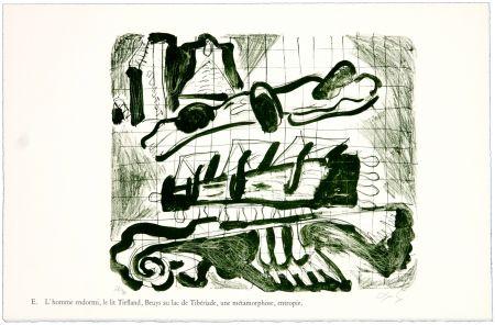 Litografia Nørgaard - E. L'homme endormi, le lit Tiefland, Beuys au lac de Tibériade, une méthamorphose, entropie.