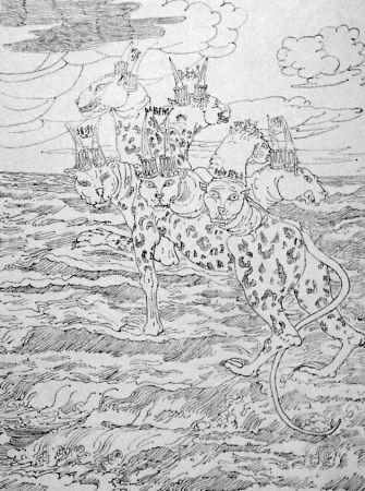 Litografia De Chirico - E vidi una bestia salir su dal mare...