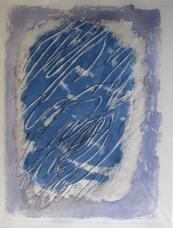 Acquatinta Fautrier - Ecriture Sur Fond Bleu