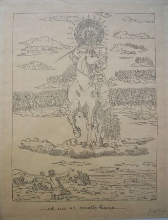 Litografia De Chirico - Ed ecco un cavallo bianco