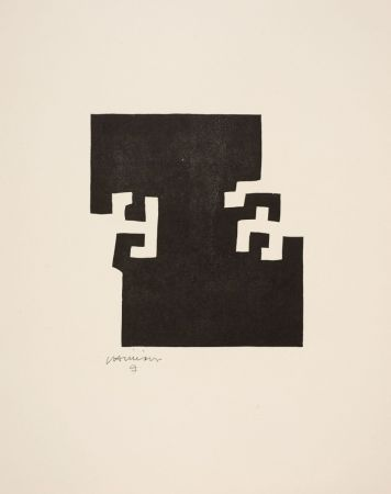 Incisione Su Legno Chillida - Eduardo Chillida(1924-2002) Bois gravé sur vélin d'Arches.