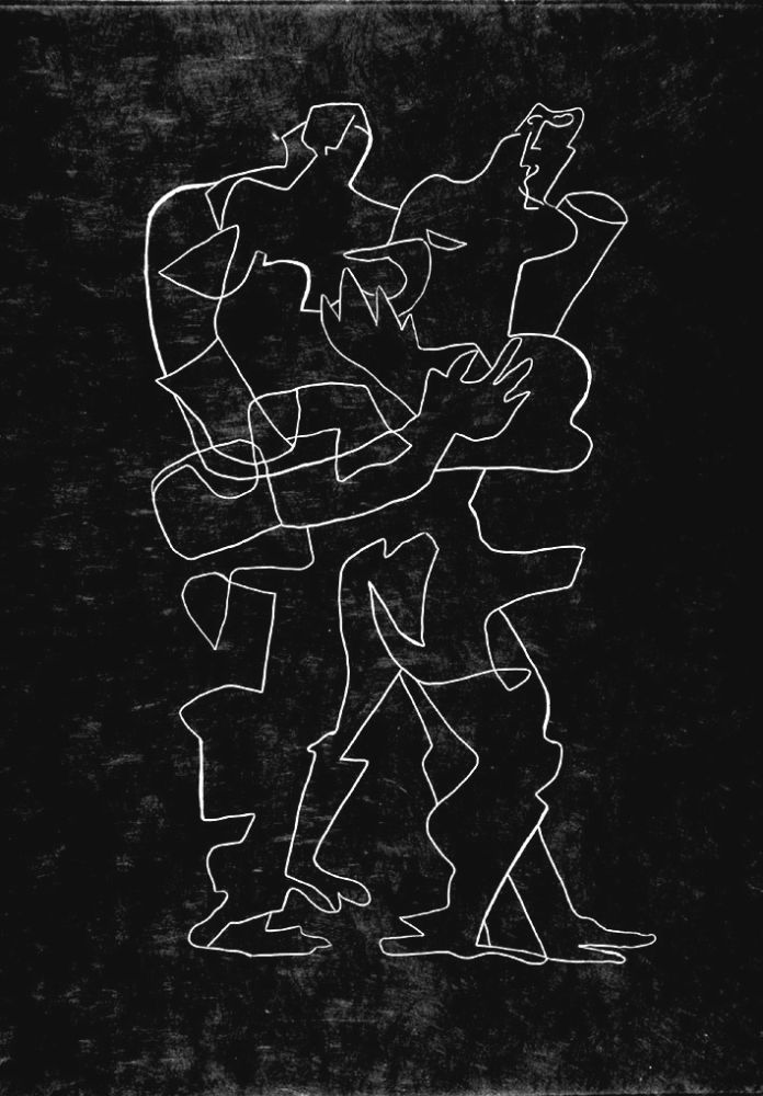 Acquaforte Zadkine - Efant aux mains coupées parmi les poses oriflammes