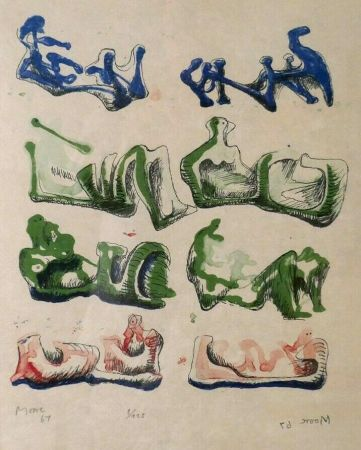 Litografia Moore - Eight Reclining Figures