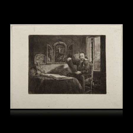 Incisione Rembrandt - El boticario Abraham Francen