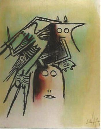 Litografia Lam - Elle, casquee