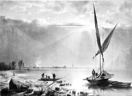 Litografia Fontanesi - Embouchures du Rhone (Lac de Genève)