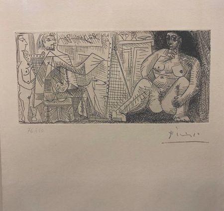 Acquaforte Picasso - En el atelier, pintor, modelo y espectador