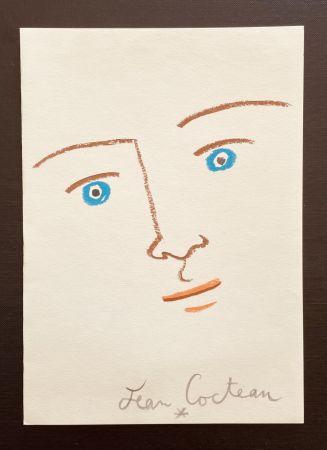 Litografia Cocteau - En face yeux bleu