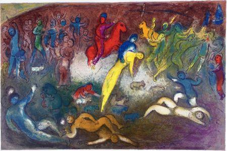 Litografia Chagall - ENLÈVEMENT DE CHLOÉ (Daphnis et Chloé - 1961)