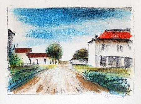 Litografia Vlaminck - Entrée de Village II (La Route de Francheville)