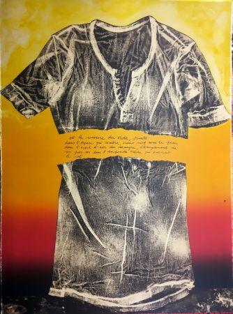 Litografia Recalcati - Et le sourire du vide…(Placard Bailly). Version en rouge. Lithographie de 1975