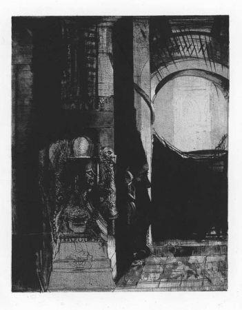 Litografia Redon - Et partout ce sont des colonnes de basalte...