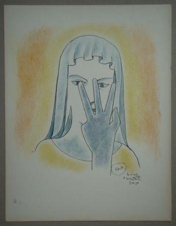 Litografia Cocteau - Etude - La vierge se cache le visage avec 3 doigts