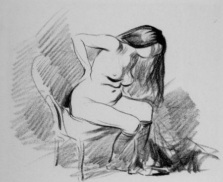 Litografia Forain - Etude de femme assise, se déshabillant