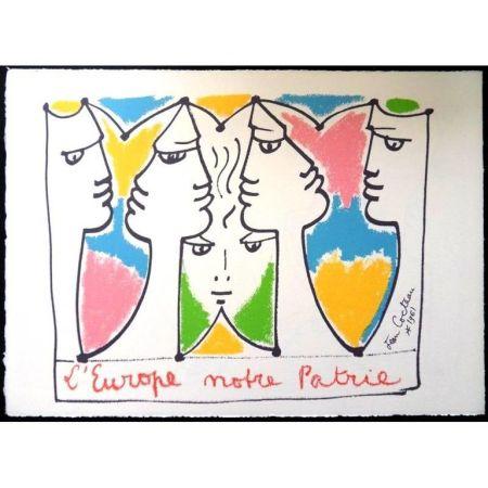 Litografia Cocteau - Europe Pont pour les Civilisations