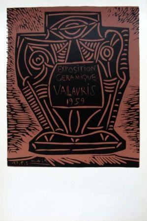 Linoincisione Picasso - Exposition Ceramique Vallauris 1959