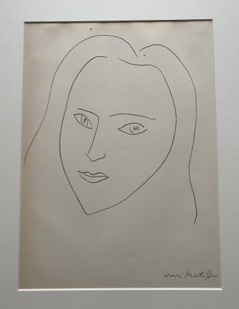 Litografia Matisse (After) - Facing Woman's  portrait with long hair