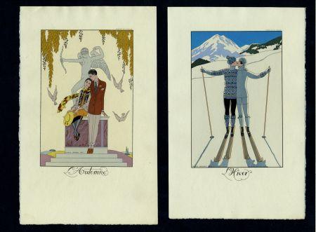 Libro Illustrato Barbier - FALBALAS ET FANFRELUCHES. Almanach des modes présentes, passées et futures pour 1922, 1923, 1924, 1925 et 1926. Collection complète