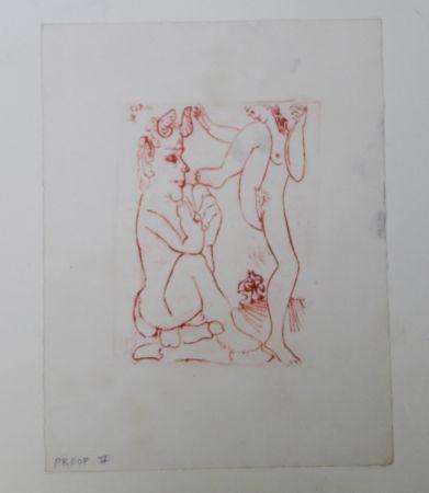 Incisione Picasso -  Faune Et Bacchante , Avec Combat De Faunes