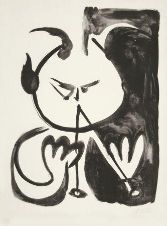 Litografia Picasso - Faune musicien no. 5 (Musizierender Faun Nr. 5)