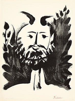 Litografia Picasso - Faune souriant