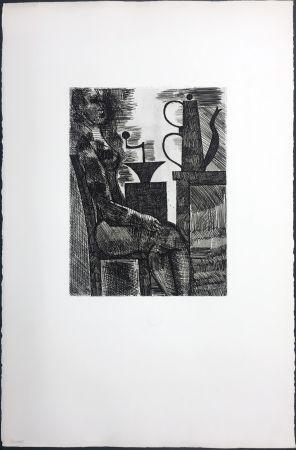 Incisione Gromaire - Femme à la cafetière (Chacographie du Louvre)
