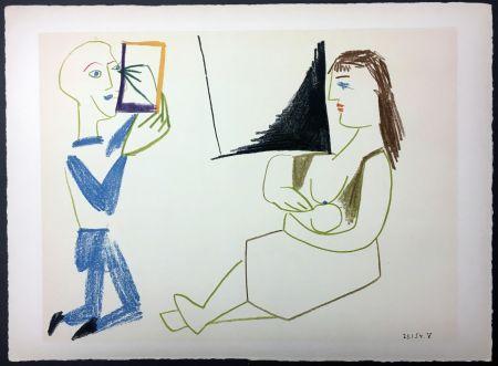 Litografia Picasso - Femme allaitant (de La Comédie Humaine - Verve 29-30. 1954).