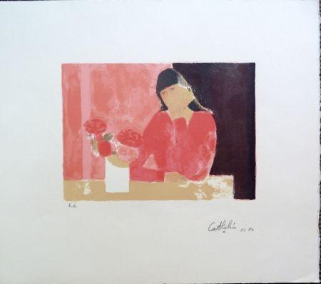 Litografia Cathelin - Femme au Bouquet de Roses