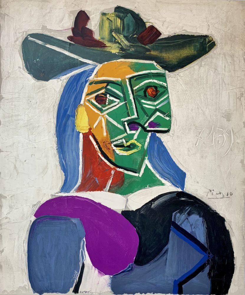 Litografia Picasso - Femme au Chapeau