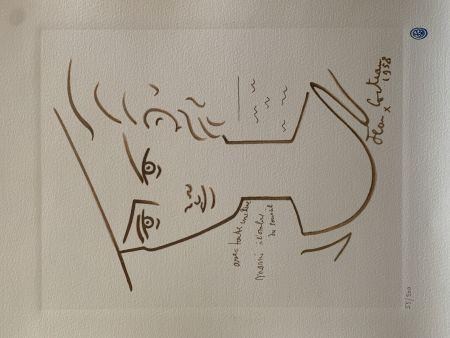 Litografia Cocteau - Femme au chapeau