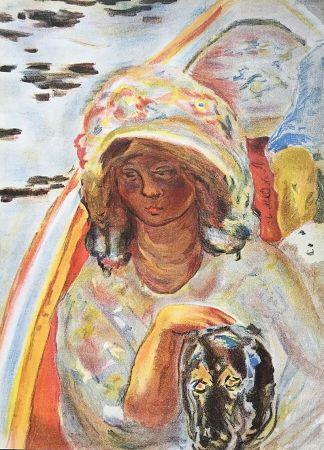 Litografia Bonnard - Femme au chien dans une barque