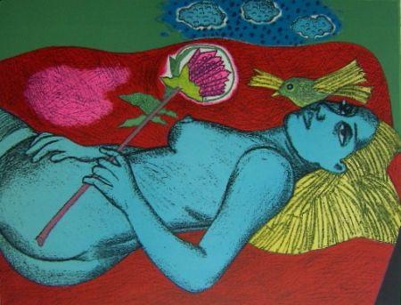 Litografia Corneille - Femme au fleur australien
