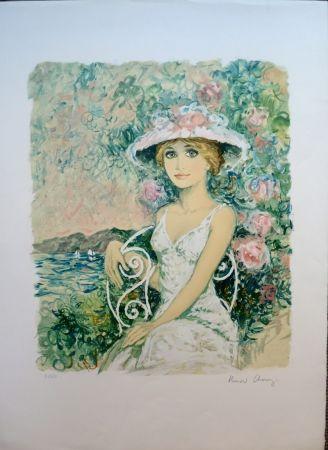 Litografia Charoy - Femme au Jardin