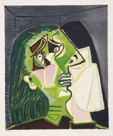 Litografia Picasso - Femme au Mouchoir