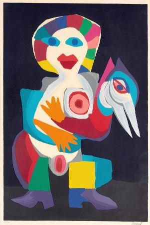 Litografia Appel - Femme avec Oiseau