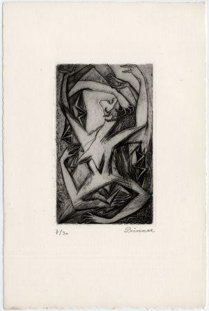 Acquaforte Prinner - Femme, bras et mains (La Femme tondue, 1946)