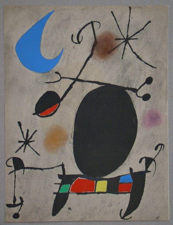 Pochoir Miró - Femme dans la nuit