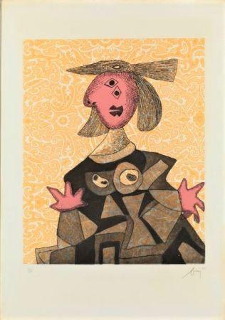 Acquaforte E Acquatinta Baj - Femme d'après Picasso