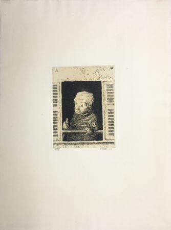 Acquatinta Avati - Femme de ménage à la fenêtre (1951)