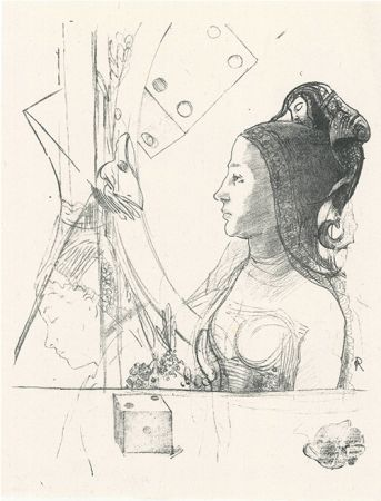Litografia Redon - Femme de profil, coiffée d'un hénin