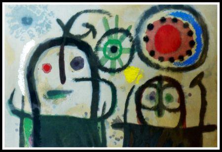 Pochoir Miró - FEMME EN PRIERE DEVANT LE SOLEIL