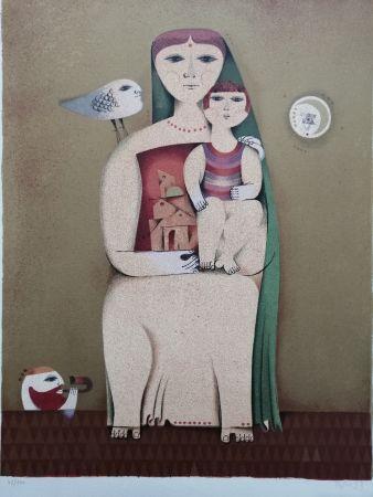 Litografia Briss - Femme et enfant