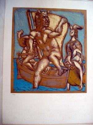 Litografia Picasso - Femme Et Minotaur