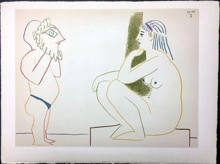 Litografia Picasso - Femme et Satyre (de La Comédie Humaine - Verve 29-30. 1954).